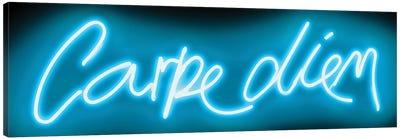 Neon Carpe Diem Aqua On Black Canvas Art Print