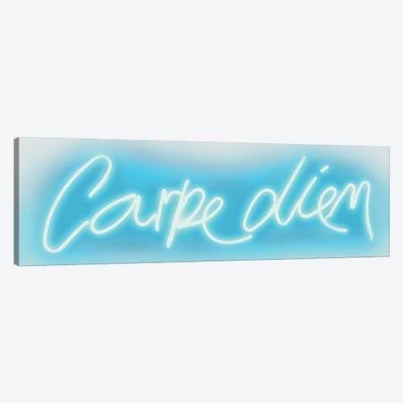 Neon Carpe Diem Aqua On White Canvas Print #HCR16} by Hailey Carr Canvas Art