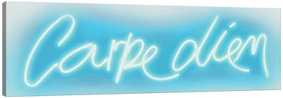Neon Carpe Diem Aqua On White Canvas Art Print