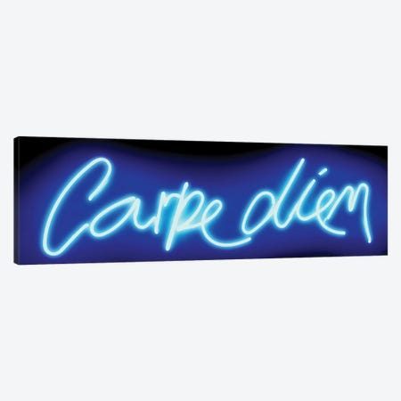 Neon Carpe Diem Blue On Black Canvas Print #HCR17} by Hailey Carr Canvas Artwork