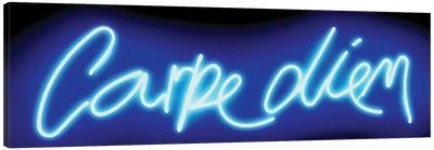 Neon Carpe Diem Blue On Black Canvas Art Print