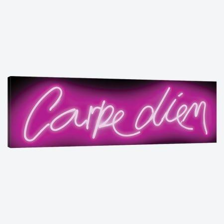 Neon Carpe Diem Pink On Black Canvas Print #HCR18} by Hailey Carr Art Print