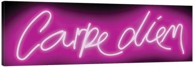 Neon Carpe Diem Pink On Black Canvas Art Print
