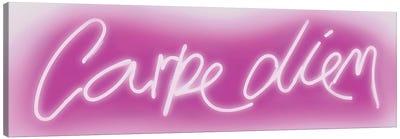Neon Carpe Diem Pink On White Canvas Art Print