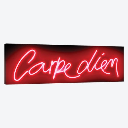 Neon Carpe Diem Red On Black Canvas Print #HCR20} by Hailey Carr Canvas Wall Art