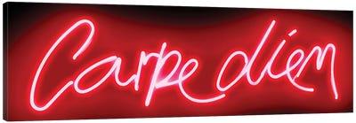 Neon Carpe Diem Red On Black Canvas Art Print