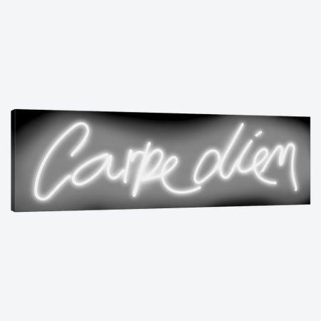 Neon Carpe Diem White On Black Canvas Print #HCR21} by Hailey Carr Canvas Art