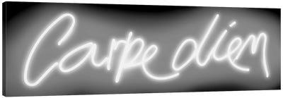 Neon Carpe Diem White On Black Canvas Art Print