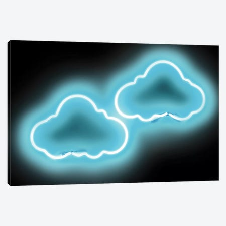 Neon Clouds Aqua On Black Canvas Print #HCR22} by Hailey Carr Canvas Wall Art