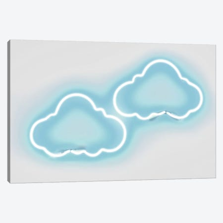Neon Clouds Aqua On White Canvas Print #HCR23} by Hailey Carr Canvas Art