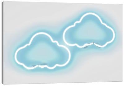 Neon Clouds Aqua On White Canvas Art Print
