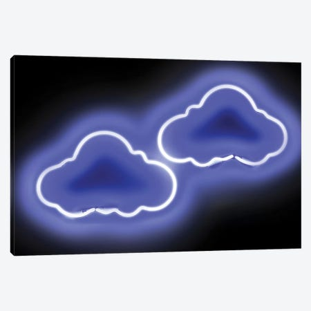Neon Clouds Blue On Black Canvas Print #HCR24} by Hailey Carr Canvas Print