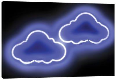 Neon Clouds Blue On Black Canvas Art Print