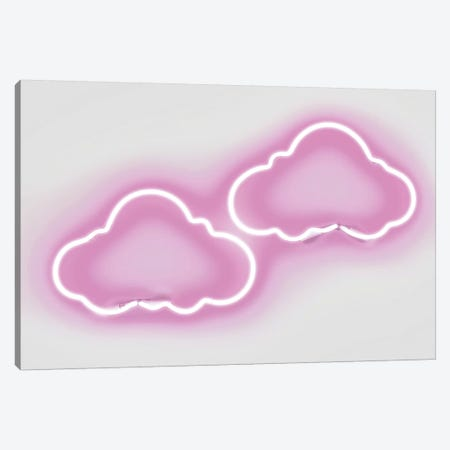 Neon Clouds Pink On White Canvas Print #HCR26} by Hailey Carr Canvas Art Print