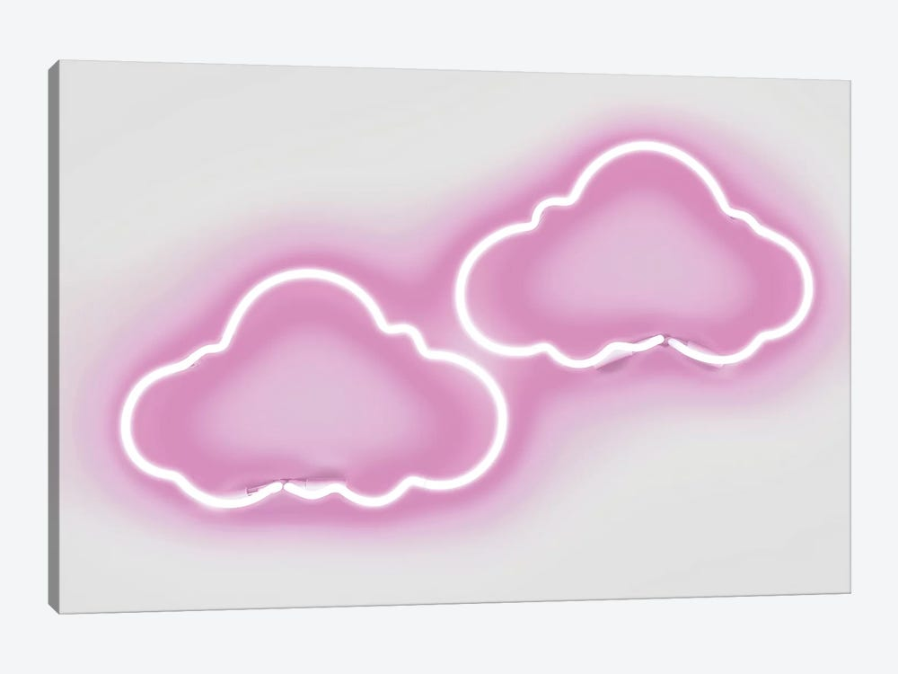 Neon Clouds Pink On White by Hailey Carr 1-piece Canvas Artwork