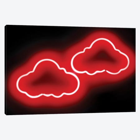 Neon Clouds Red On Black Canvas Print #HCR27} by Hailey Carr Canvas Print