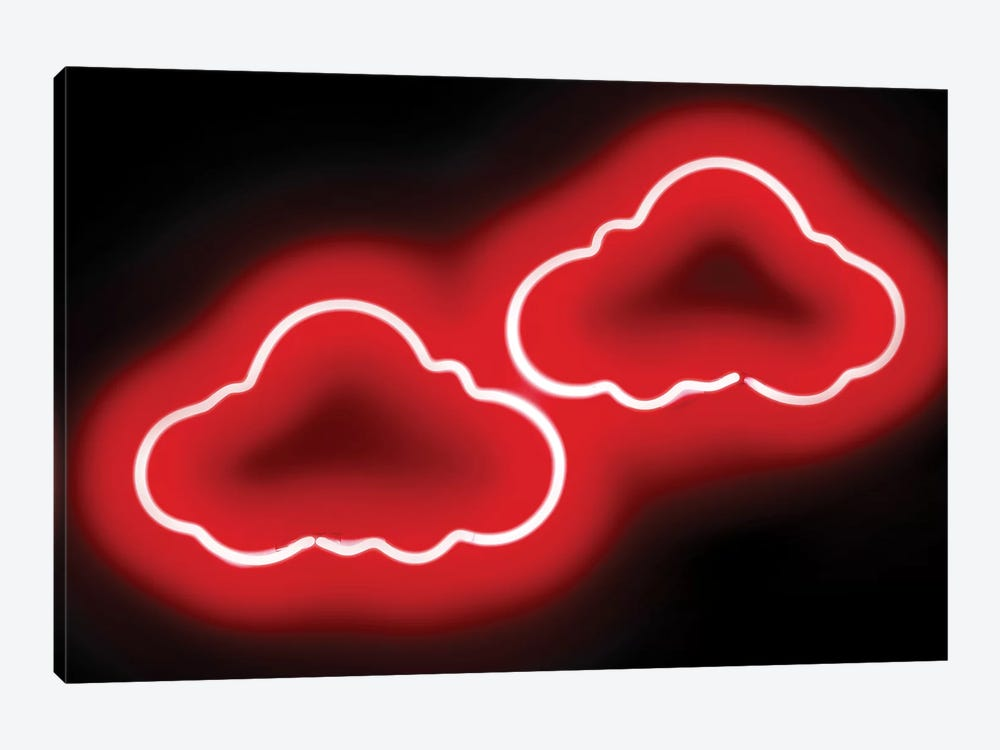 Neon Clouds Red On Black by Hailey Carr 1-piece Canvas Art Print
