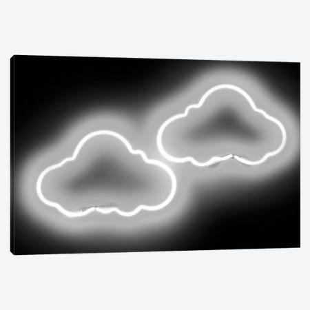 Neon Clouds White On Black Canvas Print #HCR28} by Hailey Carr Canvas Wall Art