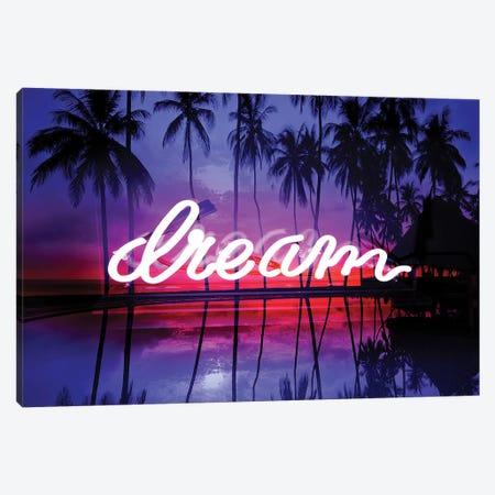 Neon Dream Beach Pink On Black 3-Piece Canvas #HCR32} by Hailey Carr Canvas Art Print