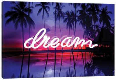 Neon Dream Beach Pink On Black Canvas Art Print