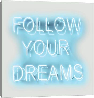 Neon Follow Your Dreams Aqua On White Canvas Art Print