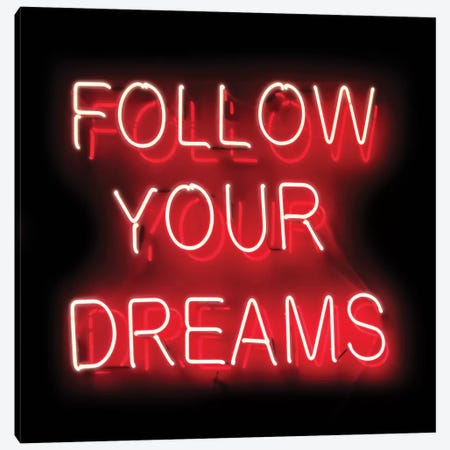 Neon Follow Your Dreams Red On Black Canvas Print #HCR42} by Hailey Carr Canvas Wall Art