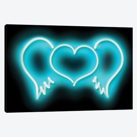 Neon Heart Wings Aqua On Black Canvas Print #HCR44} by Hailey Carr Art Print
