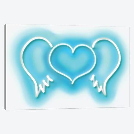 Neon Heart Wings Aqua On White Canvas Print #HCR45} by Hailey Carr Canvas Print