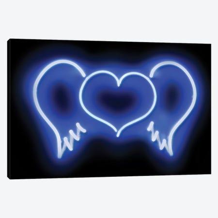 Neon Heart Wings Blue On Black Canvas Print #HCR46} by Hailey Carr Canvas Art Print