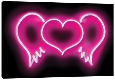 Neon Heart Wings Pink On Black Canvas Art Print
