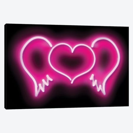 Neon Heart Wings Pink On Black Canvas Print #HCR47} by Hailey Carr Canvas Print