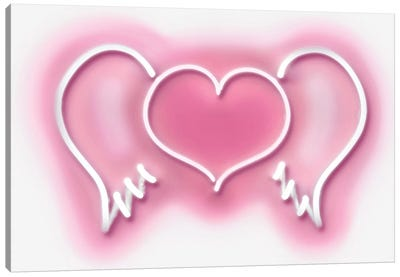 Neon Heart Wings Pink On White Canvas Art Print
