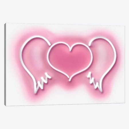 Neon Heart Wings Pink On White Canvas Print #HCR48} by Hailey Carr Canvas Art