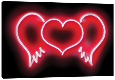 Neon Heart Wings Red On Black Canvas Art Print