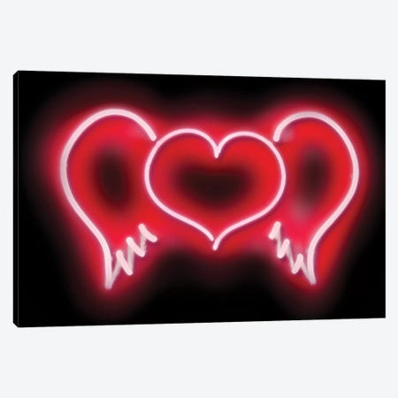 Neon Heart Wings Red On Black Canvas Print #HCR49} by Hailey Carr Canvas Wall Art