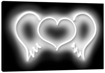 Neon Heart Wings White On Black Canvas Art Print