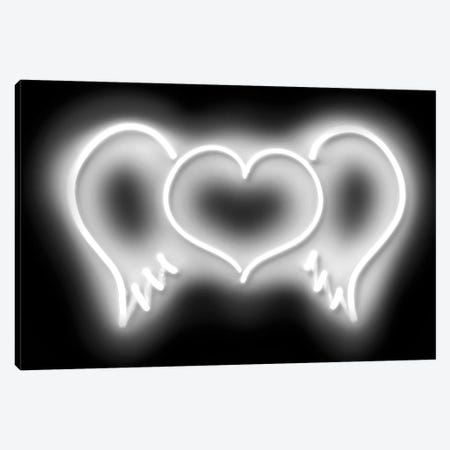 Neon Heart Wings White On Black Canvas Print #HCR50} by Hailey Carr Canvas Art Print