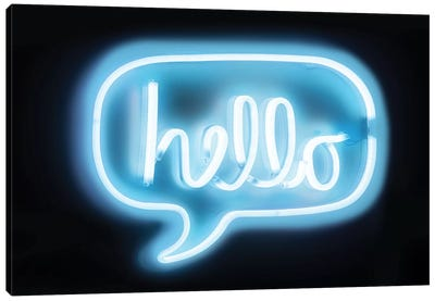 Neon Hello Aqua On Black Canvas Art Print