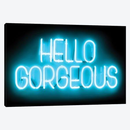 Neon Hello Gorgeous Aqua On Black Canvas Print #HCR54} by Hailey Carr Canvas Art