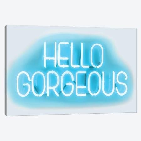Neon Hello Gorgeous Aqua On White Canvas Print #HCR55} by Hailey Carr Canvas Art