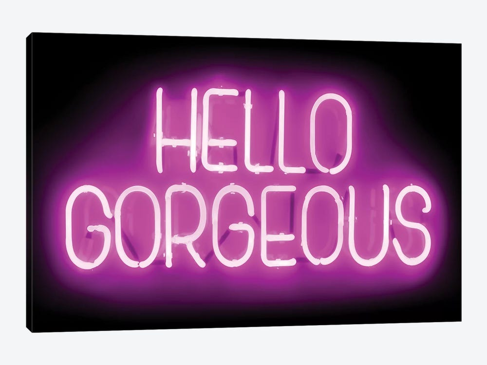 Neon Hello Gorgeous Pink On Black by Hailey Carr 1-piece Canvas Artwork