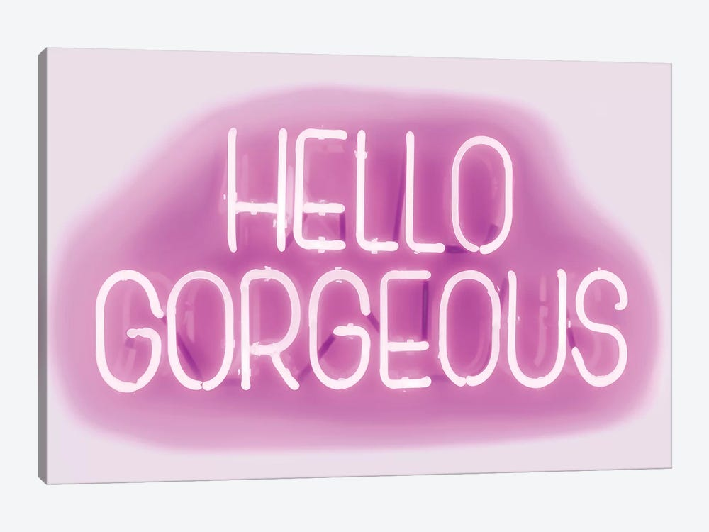 Neon Hello Gorgeous Pink On White by Hailey Carr 1-piece Art Print