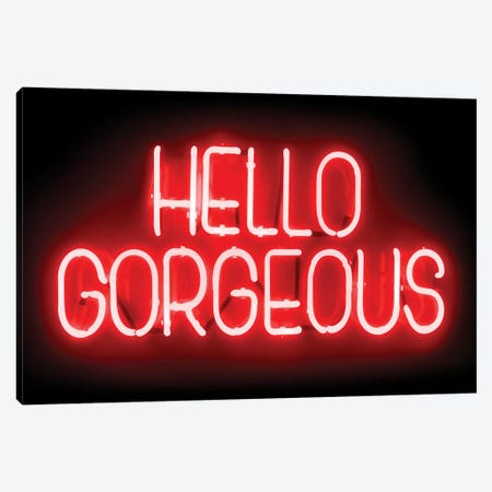 Neon Hello Gorgeous Red On Black Canvas Print #HCR59} by Hailey Carr Art Print