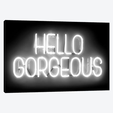 Neon Hello Gorgeous White On Black Canvas Print #HCR60} by Hailey Carr Canvas Wall Art