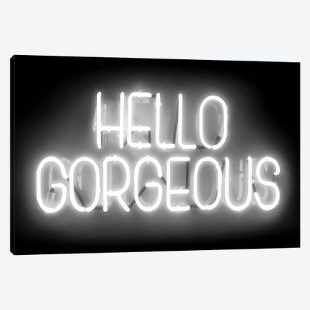 Neon Hello Gorgeous White On Black Canvas Print #HCR60} by Hailey Carr Canvas Wall Art
