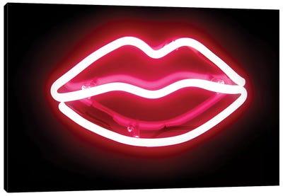 Neon Lips Red On Black Canvas Art Print
