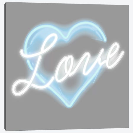 Neon Love Aqua On White Canvas Print #HCR76} by Hailey Carr Canvas Wall Art