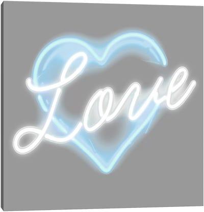 Neon Love Aqua On White Canvas Art Print