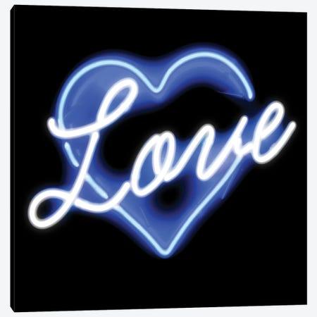 Neon Love Blue On Black Canvas Print #HCR77} by Hailey Carr Canvas Artwork