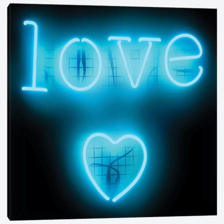 Neon Love Heart Aqua On Black Canvas Print #HCR79} by Hailey Carr Art Print